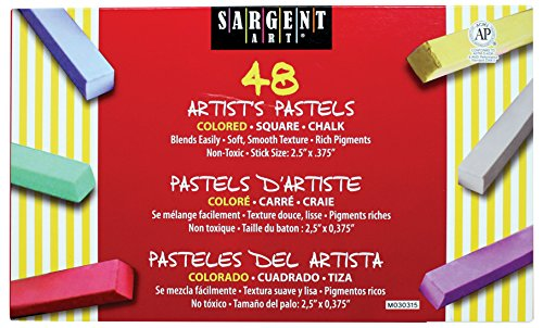 Sargent Art 22-4148 Colored Square Chalk Pastels, 48 Count