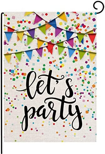 pingpi Let s Party Festive Birthday Home Garden Flag 12 5 x18 Vertical Double Sided Burlap Yard product image