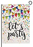 pingpi Let's Party Festive Birthday Home Garden Flag 12.5'x18' Vertical Double Sided Burlap Yard Outdoor Decor