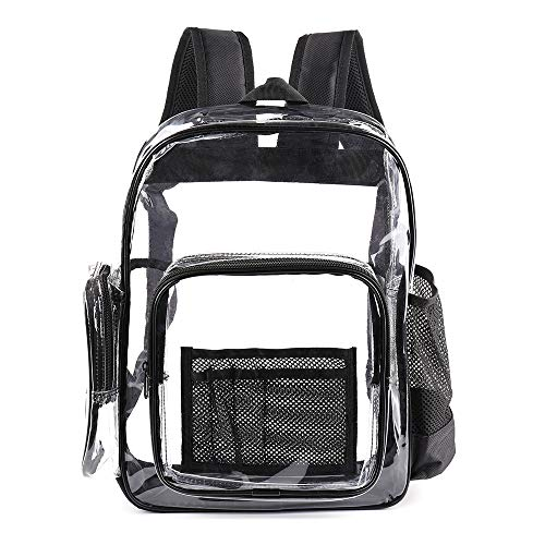 Premium Durable Clear Backpack Transparent See Through PVC Plastic Bags with Laptop Compartment for Work,School,Travel,Concert (16' Large,Black)