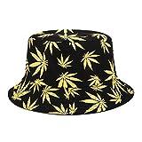 Sombrero de Cubo con Estampado de Hojas Sombrero de Pescador de Hip Hop Hombres Mujeres Al Aire Libre Verano Casual Algodón Chapeau Visor Cap Cubo-Black with Yellow