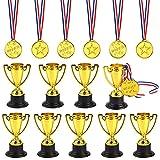FEPITO 30 Piezas de trofeos de medallas Set 10 Piezas de Trofeo de plástico de Oro y 20 Piezas de...
