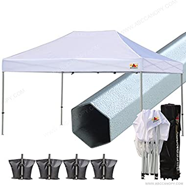ABCCANOPY PRO 10 X 15 Ez Pop up Canopy Tent Commercial Instant Gazebos with Roller Bag and 4x Weight Bag (white)