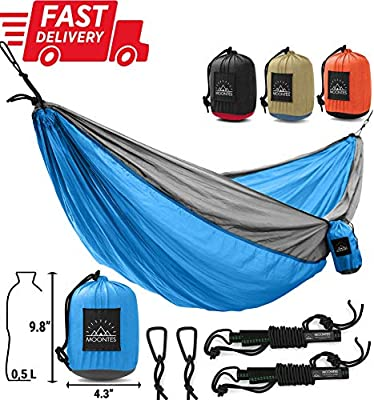 Moontes Double Camping Hammock Outdoor - with Tree Hammock Straps Portable Nylon Two-Person Hammock for Travel, Beach, Yard 500 lbs 118 78 inches