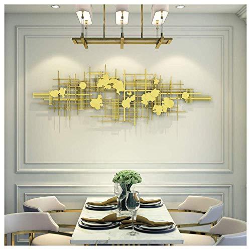 Grandes arte de pared de metal – hierro forjado geométrico abstracto irregular patrón dorado, escultura para salón dormitorio