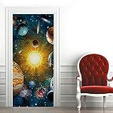 Etiqueta de Puerta Universo Planeta Colorido Pegatinas de Pared Decoración de Hogar 95 x 215 cm