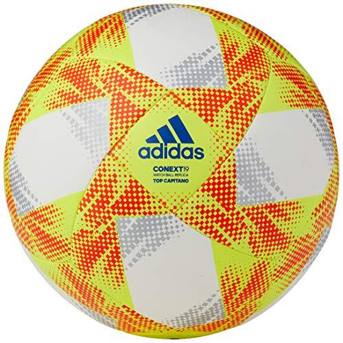 adidas Herren Soccer Ball CONEXT19 TCPT, top: White/solar Yellow/solar red/Football Blue Bottom: Silver met., 5, DN8636