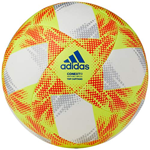 adidas Herren Soccer Ball CONEXT19 TCPT, top: White/solar Yellow/solar red/Football Blue Bottom: Silver met., 5, DN8636