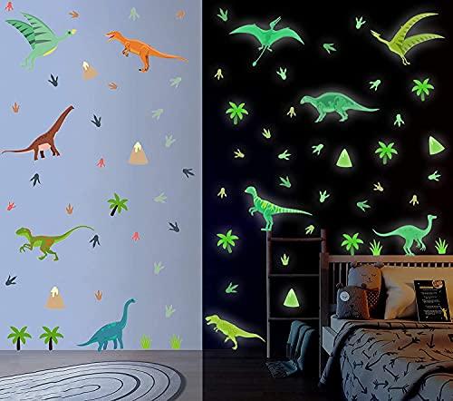 TOARTI 86 Pezzi Dinosauro Luminosi Adesivi Murali,Adesive da Parete Animale Luminoso per Camera del Ragazzo,DIY Sticker Murali Dinosauri Fluorescenti per Camera Bambini Soffitto Asilo Nido Decorazioni