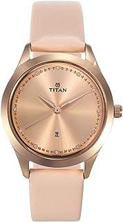 2570WL01 تيتان سباركل السيدات ، تقويم ، مقاومة للماء حتى 50 متر ،وجه زهري ، حزام الجلد زهري