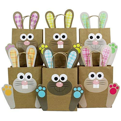 Sacs lapins de Pâques XXL avec poignées pour loisirs créatifs - Sacs-cadeaux colorés pour Pâques à remplir soi-même - Pour emballer les cadeaux des enfants et des adultes