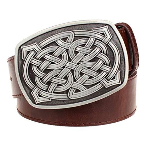 DSJTCH Elemento de Moda Cinturón de Cuero de Las Mujeres Tejido de cinturón de cinturón patrón de Rayas Cinturón Casual Celtic Knot Style Jeans Correa Metal Big Hebilla Cinturón