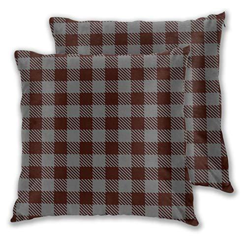 Juego de 2 fundas de almohada cuadradas de búfalo a cuadros burdeos gris hogar decorativo suave fundas de cojín para dormitorio, sofá sala de estar 45 x 45 cm