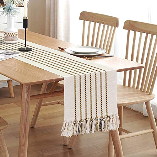 Hand Woven Table Runner,13 x 72 Cotton Farmhouse Style Table Runners with Tassels Best Gift Decor Wedding Parties Rustic Bridal Shower Dining Coffee Table Beige