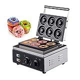 Máquina para hacer gofres donuts comercial 1550W Máquina de rosquillas con 6 agujeros 50-300 ℃ Molde para hornear donas Freidora de rosquillas Uso para panadería, pastelería, cafetería
