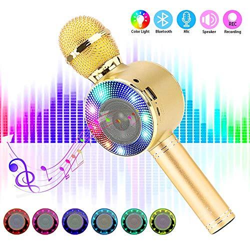SaponinTree Micrófono Karaoke Bluetooth, 4 en1 Microfono Inalámbrico Karaoke Portátil con Luces LED 7 Colores para Niños Canta Partido Musica Compatible con Android/iOS