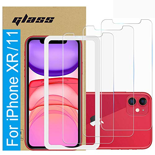 (3 Pack )Amuoc Tempered Glass Film for Apple iPhone 11 Screen Protector and iPhone XR Screen Protector,with (Easy Installation Tray) Anti Scratch, Bubble Free (iPhone 11 Screen Protector/iPhone XR Scr)