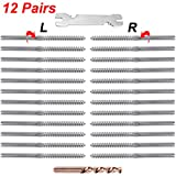 CKE Upgraded 12 Pairs Stainless Steel Right&Left Handed Thread Swage Lag Screws for Wood P...