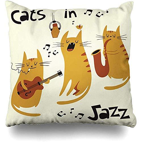 WHEYT Housse de Coussin 40 X 40Cm Chats Jazz Ginger Rock Kitten Mignon Saxophoniste Microphone...