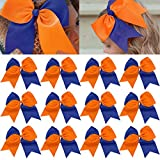 12 Pcs Large Cheer Bows 8' Bulk Hair Bow Accessories with Ponytail Holder for Girls High School College Cheerleading