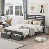 Full Bed with Drawers,Wood Bed Frame with Headboard and Footboard Mattress Foundation Wood Bed Platform for Boys, Girls, Kids, Young Teens and Adults,Gray