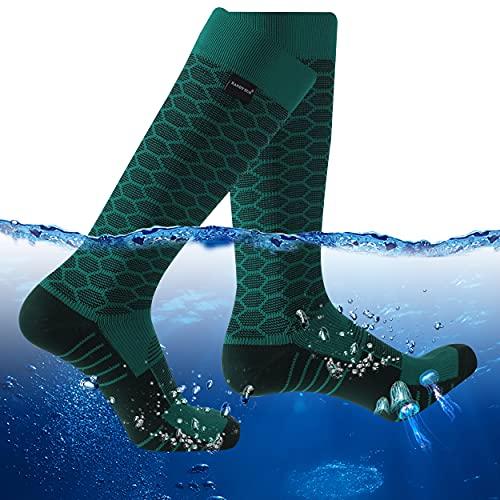 RANDY SUN Waterproof Knee High Socks, Women's Rain Gear for Men Waterproof Work Socks Green& Black, X-Small