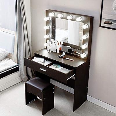 (US Fast Shipment) Elegant Makeup Table Vanity Set with Lighted Mirror 12 Cool LED Bulbs, Makeup Vanity Dressing Table Dresser Desk with Large Drawer for Bedroom Furniture (Black)