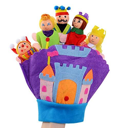 Happy cherry - Guantes de Títeres de Mano de Cuentos de Dibujos Animados Lindos para Bebés Niños Juguete Marionetas de Dedos de Muñecos Colorido - Castillo