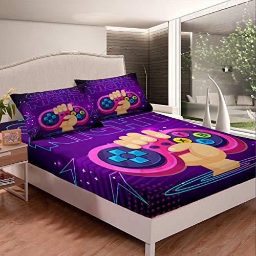 Gamepad - Juego de sábanas decorativas para niños, adolescentes, galaxia, videojuegos, juego de ropa de cama, diseño geométrico, sábana bajera ajustable para dormitorio, 2 unidades, tamaño individual