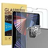 SPARIN 4 Stück Panzerglas Kompatibel mit iPad Pro 12,9 2021/2020, 2 Bildschirmschutzfolie & 2 Kamera Schutzfolie Maximale Abdeckung