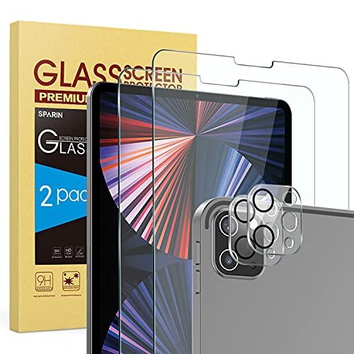 SPARIN (4 pièces) Protection écran Pour iPad Pro 12.9 2021 / 2020, 2 protecteurs d'écran et 2 Pièces Caméra Protection écran en verre trempé, Couverture maximale, HD