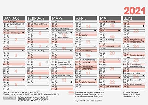 BRUNNEN 1070160001 Tischkalender/Tafelkalender A 6 Modell 701 60, 1 Seite = 6 Monate, kräftiger Karton, Kalendarium 2021
