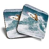 Great Coasters (Set de 2) Posavasos cuadrados/brillantes de calidad para cualquier tipo de mesa – Surfing Girl Wave Surfer Surf Ocean Sea #8085