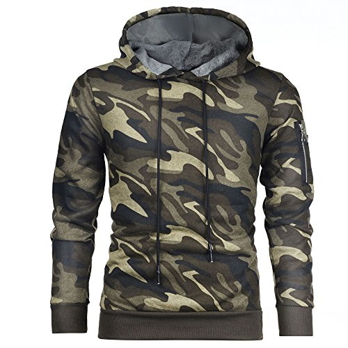 KINDOYO Homme Sweatshirt Hoodie à Capuche Manches Longues Pull Automne Hiver Hooded Camouflage Tops, Vert