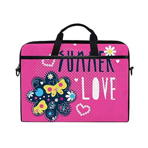 LOSNINA 15-15.4 inch Laptop Tasche,Sommer Liebes Schmetterlings Alles Gute zum Geburtstageinladung,Neue Leinwand Drucken Muster Aktentasche Laptop Schulter Messenger Handtasche Case Sleeve