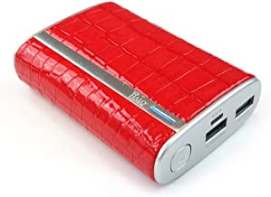 HALO Pocket Power 9000 Portable Phone Tablet Battery Charger Fast Charge Power Bank with 2 USB Ports and 2 Micro USB Charging Cables Red Crocodile