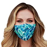 Washable Face Mask with Adjustable Ear Loops & Nose Wire - 3 Layers, 100% Cotton Inner Layer - Cloth Reusable Face Protection with Filter Pocket - (Tropical Banana Leaves)