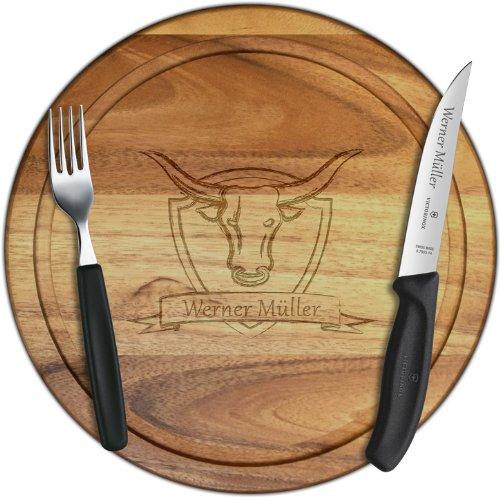 Premium Steak-Set mit Wunschgravur, Steakmesser + Gabel + Holzbrettchen Akazie 30cm