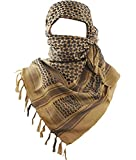 MAGNIVIT Cotton Keffiyeh Tactical Desert Scarf Wrap Shemagh Head Neck Arab Scarf Coyote Brown