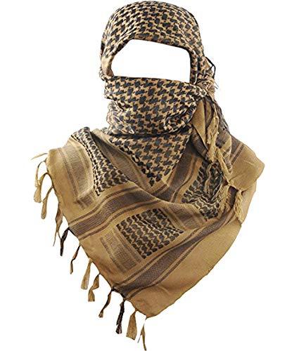 MAGNIVIT Cotton Keffiyeh Tactical Desert Scarf Wrap Shemagh Head Neck Arab Scarf Coyote Brown