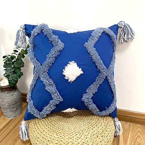 Federa cuscino Federa quadrata trapuntata ricamata in cotone indiano blu giallo con nappe in pizzo Copridivano marocchino senza anima
