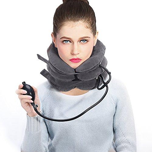 Fashion Neck Traction Device, aufblasbares und verstellbares Neck Stretcher Collar Neck Suport-Kissen + Extra große Kinnstütze Travel PillowNeck Brace für Frauen und Männer zum Schutz des Nackens