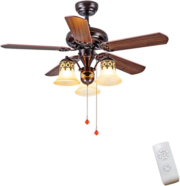 JINWELL Deckenventilatoren Nordic braun Vintage Deckenventilator mit Beleuchtung Fernbedienung Dimmen Control Fan LED-Licht Schlafzimmer Esszimmer Lagerraum Deckenventilatoren Led Decke,3heads