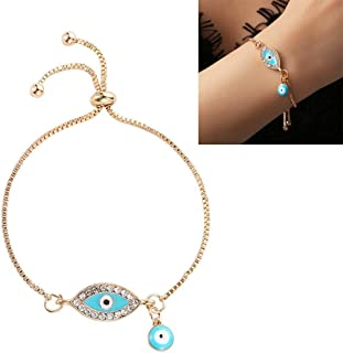 Bracelets Women Handmade Blue Crystal Evil Eye Lucky Chains Bracelets(Dark Blue) Bracelets (Color : Light Blue)