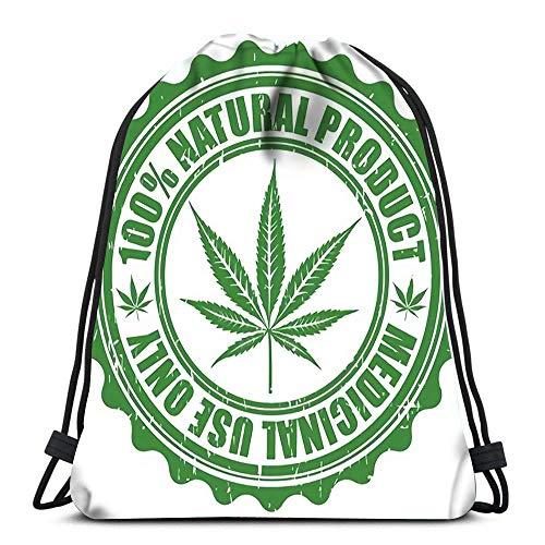 JONINOT Mochila Bolsa con cordón Sello de Grunge con Emblema de Hoja de Marihuana Símbolo de Silueta de Cannabis
