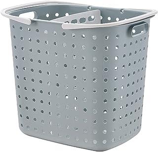 ランドリーバスケット 大容量 ランドリーワゴン ワイヤー 簡単収納バスケット スリム 取り外し可能 移動可能 キャスター付き 分類して置く 風呂棚 プラスチックの洗濯かご 衣類収納ボックス (グレー,二段)