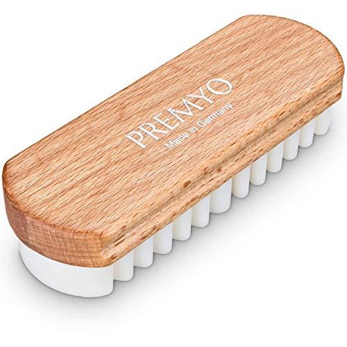 PREMYO Cepillo para gamuza brinda un cuidado suave al nobuck, velour, ante o cuero de grano completo. Cepillo para zapatos de ante. Cepillo crepe suave para una limpieza protegiendo todos los cueros