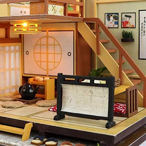Kit de casa de muñecas en miniatura con muebles y cubierta, regalo creativo con luces LED + cubierta de polvo (D)