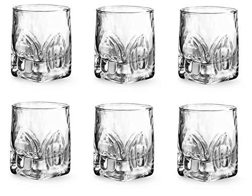 Provance 6-teiliges Schnapsgläser-Set, 55 ml, Stamper Shotglas Shooter Spülmaschinenfest Kristallglas Massive hochwertige Gläser, schöne Optik