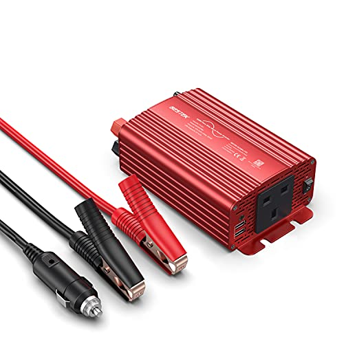Price comparison product image BESTEK 300W Pure Sine Wave Power Inverter DC 12V to AC 230V 240V with 4.2A Dual Smart USB Ports Car Adapter (300W-Red)